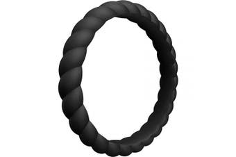 (3.5 - 4 (14.9mm), 1 Ring - Black) - ThunderFit Womens Thin Swivel Rings, 8 Rings / 4 Rings / 1 Ring - Stackable Silicone Wedding Rings