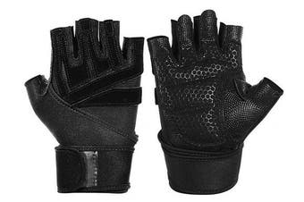 (XL(Fits 23cm --25cm ), Black advanced) - Smago Weight Lifting Gloves, Breathable Soft Workout Gloves with Extra Grip, Exercise Gloves, Gym Gloves for Powerlifting, Fitness, Cross Training for Men Women