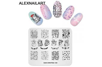 (CH005) - Alexnailart Nail Art Stamping Plate Template Christmas theme Snowman Balloon Candy Bell Christmas hat Pattern DIY Nail Art Image Stamp Stamping Plates Manicure Print Tool