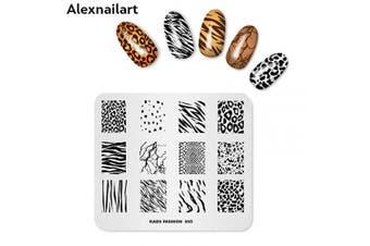 (FA005) - Alexnailart Nail Stamping Plate Fashion Animal pattern Leopard Tiger Cow Zebra Multi-Pattern Stamping Template Print Image Nail Art Stamper Scraper Nails Tool