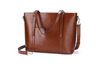 (One Size, Dark Brown) - Enmain Women 40cm Laptop Genuine Leather Shoulder Bag Work Handbag Satchel Carry-on Tote Bag in Trolley Handle