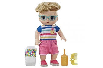 Baby Alive Step 'N Giggle Baby Blonde Hair Boy Doll with Light-Up Shoes, Responds with 25+ Sounds & Phrases, Drinks & Wets, Toy for Kids Ages . Old & Up