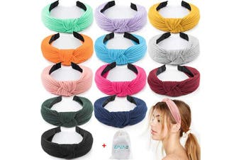 EAONE 12 Pieces Knot Headband, Knot Turban Headbands Knitted Elastic Wide Plain Headbands, Knotted Boho Headbands for Women and Girls, 12 Colours, with 1 PC Pouch Bag