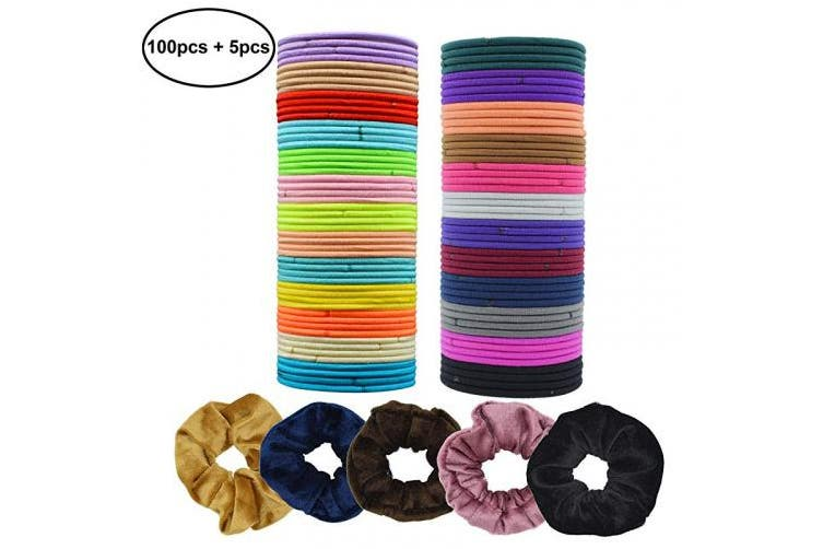 (Multi-colored) - VIPbuy 100 Pieces Elastic Hair Ties No Metal 3mm Ponytail Holders Hair Bands Bulk + 5 Pieces Colourful Velvet Hair Scrunchies for Girls Women
