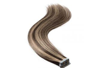 (30cm  40g, #4/27 Medium Brown/Dark Blonde) - 30cm Tape in Hair Extensions Human Hair 100% Real Remy Hair Skin Weft 20pcs 50g Natural Straight Hair Pieces for Women #4/27 Medium Brown/Dark Blonde