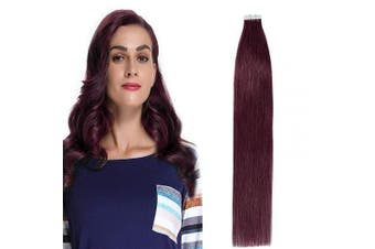 (60cm  50g, #99J Wine Red) - 60cm Tape in Hair Extensions Human Hair Black 100% Real Remy Hair Skin Weft 20pcs 50g Natural Straight Hair Pieces for Women #99J Wine Red