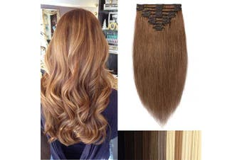 (41cm -90g, #30 Light Auburn) - Clip in Hair Extensions Full Head 100% Real Remy Human Hair Silky Straight 8 Pieces (41cm -90g #30 Light Auburn)