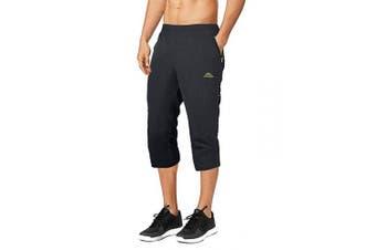 (US 30, DarkGray) - BIYLACLESEN Men's Outdoor Performance Three-Quarter Jogger 3/4 Capri Pants