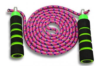 (Pink) - Anna's Rainbow Double Dutch Jump Rope - 4.3m Long Skipping Rope for Indoor/Outdoor/Playground - Durable Adjustable 8mm Nylon Cord - Exercise Toy with Lightweight Foam Handles