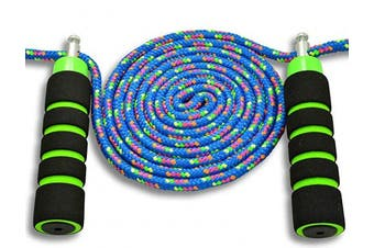 (Blue) - Anna's Rainbow Double Dutch Jump Rope - 4.3m Long Skipping Rope for Indoor/Outdoor/Playground - Durable Adjustable 8mm Nylon Cord - Exercise Toy with Lightweight Foam Handles