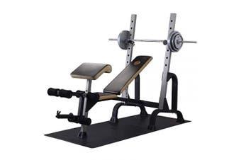 (Ribbed, Hardwood) - Resilia Heavy-Duty Protective Floor Mat for Exercise Equipment, Black, 90cm W x 200cm L