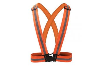 (LM-19O, ORANGE) - AYKRM 9 Colour Reflective Vest with Hi Vis Bands, Fully Adjustable & Multi-Purpose: Running, Cycling, Motorcycle Safety, Dog Walking - High Visibility