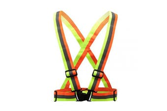 (S-XL, yellow&orange) - AYKRM 9 Colour Reflective Vest with Hi Vis Bands, Fully Adjustable & Multi-Purpose: Running, Cycling, Motorcycle Safety, Dog Walking - High Visibility
