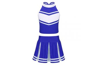 (Blue&white, 6 Years) - Agoky Girls 2PCS Cheerleading Costume Sleeveless Top with Knife Pleated Mini Skirt Outfit Set Blue & White 6 Years