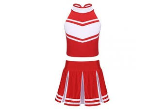 (Red&white, 12Years) - Agoky Girls 2PCS Cheerleading Costume Sleeveless Top with Knife Pleated Mini Skirt Outfit Set Red & White 12 Years