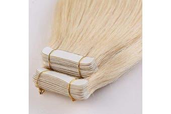 (41cm  100g, 613# Bleach Blonde) - 41cm Tape in Hair Extensions Human Hair 40PCS 100g Full Head 100% Real Remy Hair Skin Weft Seamless Straight, 613# Bleach Blonde