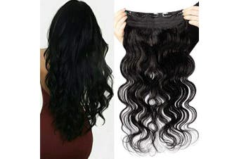 One Piece Hair Extensions Real Human Hair Clip in Remy Hair Wavy Thick 3/4 Full Head Body Wave 60cm -100g, 1 Jet Black