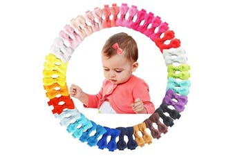 50Pcs 5.1cm Mini Hair Clips for Baby Fine Hair Grosgrain Ribbon Hair Bows Clips Fully Lined for Baby Girls Infants Toddlers in Pairs