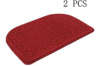 (27*46cm , Burgundy Burgundy) - 70cm X 46cm Anti Fatigue Kitchen Rug Mats are Made of 100% Polypropylene Half Round Rug Cushion Specialised in Anti Slippery and Machine Washable,Burgundy (2 pcs)