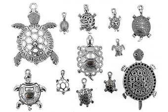 (Sea Turtle charm) - ALIMITOPIA Tortoise Charm Sea Turtle DIY Jewellery Making Charm Pendant for Handmade Necklace Bracelet Accessaries(12pcs,Silver Tone)