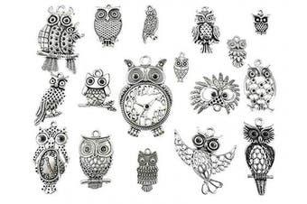 (Night Owl charm) - ALIMITOPIA Night Owl Charm Bird of Minerva DIY Jewellery Making Charm Pendant for Handmade Necklace Bracelet Accessaries(17pcs,Silver Tone)