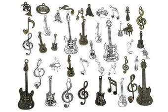(Music Elements charm) - ALIMITOPIA Music Elements Charm Music Notes Instruments DIY Jewellery Making Charm Pendant for Handmade Necklace Bracelet Accessaries(42pcs,Silver & Bronze Tone)