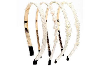 (Color 01) - LONEEDY 4 PCS Pearl Beaded Headbands, Bridal Hair Accessories Party for Women and Girls (Colour 01)