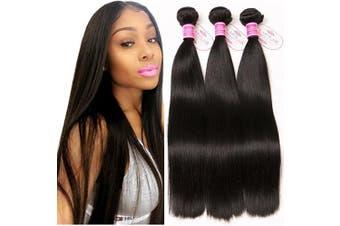 (22/2.3cm ) - ClAROLAIR Brazilian Straight Hair 3 Bundles Unprocessed Brazilian Virgin Hair Straight Bundles 9A Straight Human Hair Bundles Natual Black Colour 300g Total (22 24 70cm )