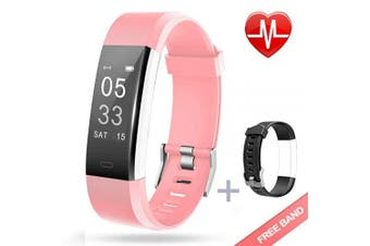 (pink + replacement band) - Lintelek Fitness Tracker with Heart Rate Monitor, Activity Tracker with Connected GPS, IP67 Waterproof Smart Fitness Band with Step Counter, Calorie Counter, Pedometer for Kids Women and Men