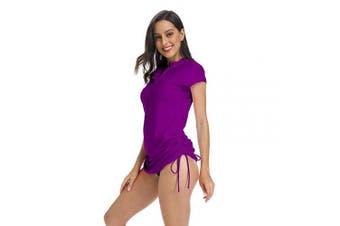 (Small, Purple) - ABALAGU Women's UV Sun Protection Half Zipper Short Sleeve Rash Guard Swim Shirt Rashguard Swimsuit Top