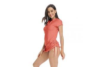 (Medium, Coral) - ABALAGU Women's UV Sun Protection Half Zipper Short Sleeve Rash Guard Swim Shirt Rashguard Swimsuit Top
