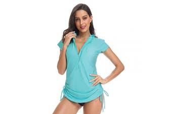 (Large, Peppermint Green) - ABALAGU Women's UV Sun Protection Half Zipper Short Sleeve Rash Guard Swim Shirt Rashguard Swimsuit Top