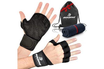 (Extra Large) - Ventilated Weight Lifting Gloves for Gym Workout PLUS Bonus Gym Towel & Bag Kit. Wrist Wrap Support for Weightlifting & Cross Training Fitness. Full Palm Protection Gym Gloves for Men & Women.