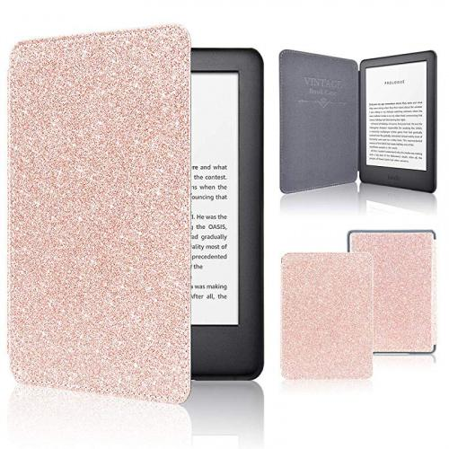 Glitter-Pink Stand Leather Wallet Cover Case for All New and Previous Kindle Paperwhite with Auto Wake Sleep Feather ACcolor Kindle Paperwhite Case 10th Generation-2018 Bonus Stylus