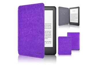 (FIT NEW KINDLE 10TH GENERATION 2019 RELEASE ONLY, Purple1) - ACdream Case Fits All-New Kindle 10th Genetation 2019 Release, the Thinnest and Lightest Premium PU Leather Cover Case for Kindle 10th Generation 2019 with Auto Wake Sleep Feather, Purple