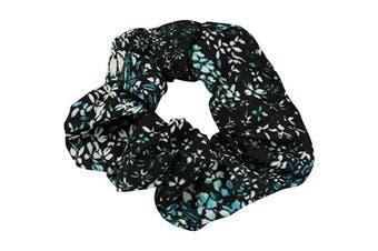 Black Floral Scrunchie Ponytail Holder Hair Tie