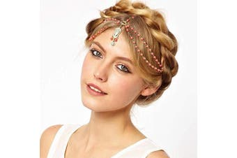 (Red) - Anglacesmade Bohemian Head Chain Bridal Beaded Forehead Chain Prom Festival Headpiece Boho Belly Dancer Jewellery for Women and Girls (Red)