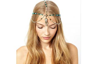 (Blue) - Anglacesmade Bohemian Head Chain Bridal Beaded Forehead Chain Prom Festival Headpiece Boho Belly Dancer Jewellery for Women and Girls (Blue)