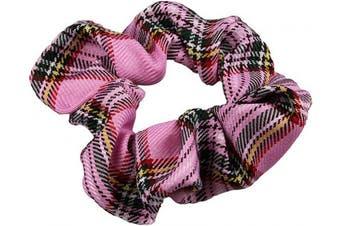 (Pink) - Pink Tartan Scrunchie Ponytail Holder Hair Tie