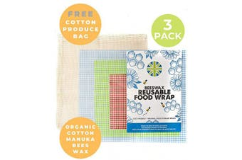 Cotswold Homeware Co | 3 Reusable Organic Beeswax Food Wraps | Bonus Produce Bag for Fruit and Vegetables | Stasher | Plastic Free Food Storage | S/M/L Sizes | Beeswax wrap