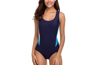 (Medium, Navy) - ATTRACO Women's One Piece Swimsuits Athletic Swimsuit Training Bathing Suit