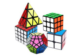 Coolzon Speed Cube Set, Magic Cube 2x2 3x3 4x4 Pyraminx Pyramid Megaminx Puzzle Cube Toy Gift for Children Adults, Pack of 5