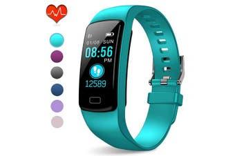 (Light aqua blue) - PUBU Fitness Tracker, IP67 Waterproof Fit Watch with Heart Rate Monitor,Sleep Monitor, Pedometer Watch for Women Men Kids