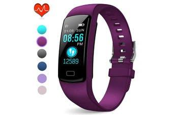 (Deep purple) - PUBU Fitness Tracker, IP67 Waterproof Fit Watch with Heart Rate Monitor,Sleep Monitor, Pedometer Watch for Women Men Kids