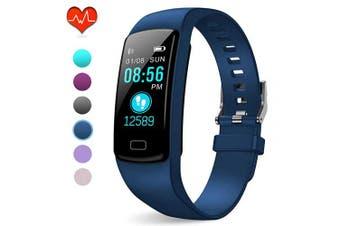 (Blue) - PUBU Fitness Tracker, IP67 Waterproof Fit Watch with Heart Rate Monitor,Sleep Monitor, Pedometer Watch for Women Men Kids