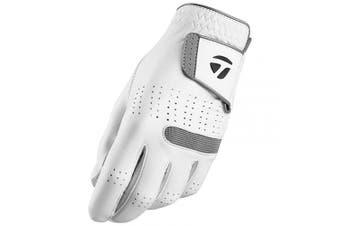 (Small, Worn on Left Hand, White) - TaylorMade Men's Tour Preferred Flex Golf Glove