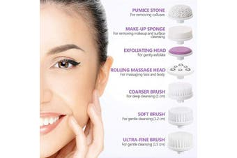 (Purple) - Facial Cleansing Brush [Newest 2020], PIXNOR Waterproof Face Spin Brush with 7 Brush Heads for Deep Cleansing, Gentle Exfoliating, Removing Blackhead, Massaging
