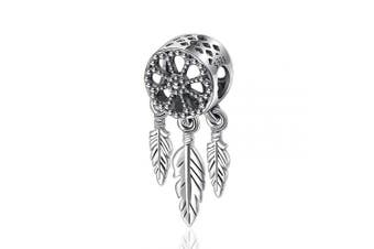 (Daisy & Feather Hanging Charm) - Womens s925 Sterling Silver Beads Charms, Spiritual Dream Catcher Pendant Charms fit for Charm Bracelets & Chain Necklaces, Fine Jewellery by CELESTIA, Fancy Gifts for Her