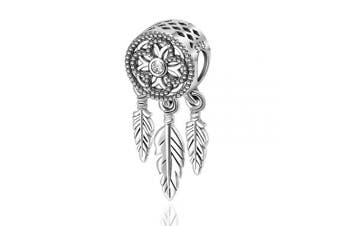 (Clover Centrepiece) - Womens s925 Sterling Silver Beads Charms, Spiritual Dream Catcher Pendant Charms fit for Charm Bracelets & Chain Necklaces, Fine Jewellery by CELESTIA, Fancy Gifts for Her