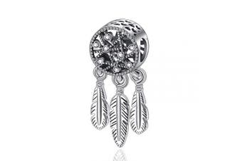 (Heart & Feather Hanging Charm) - Womens s925 Sterling Silver Beads Charms, Spiritual Dream Catcher Pendant Charms fit for Charm Bracelets & Chain Necklaces, Fine Jewellery by CELESTIA, Fancy Gifts for Her